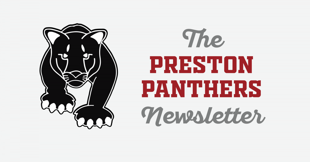 Preston Panthers monthly newsletter graphic